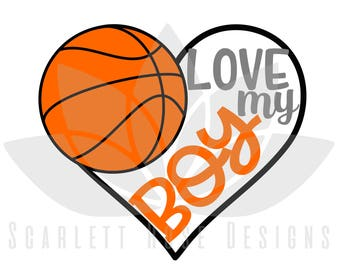 Basketball Heart, Love my Boy SVG cut file for silhouette cameo and cricut