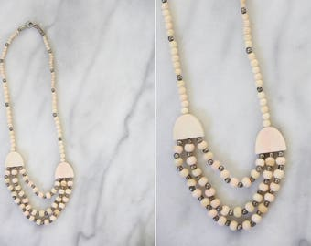 Vintage Light Peach Beaded Statement Necklace