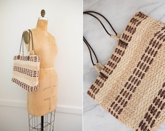 Abaca Woven Straw Market Bag With Leather Straps // Basket Purse