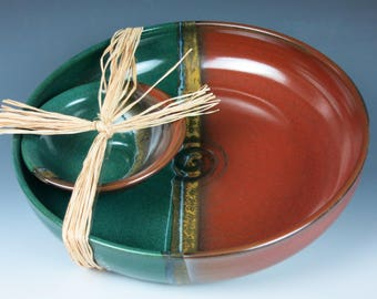 ceramic bowl set, chip and dip, fruit bowl,salad bowl,stoneware bowls, handmade pottery bowls,bowls,snack dish,ceramic serving dish
