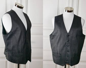 Private Image European Leather Vest, Black Leather, Motorcycle Biker Hipster Vest: Size Medium 42 US/UK
