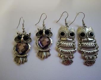 Owl earrings/ crystal owl earrings