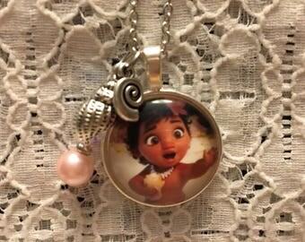 Little Moana Charm Necklace/Moana Jewelry/Moana/Disney Necklace/Disney Jewelry/Moana Pendant/Moana Necklace