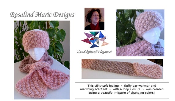 Handmade Fluffy Trinity Scarf and Ear Warmer with Loop Closure