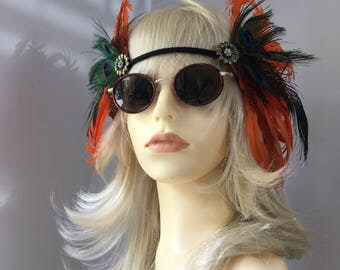 Orange Festival Feather Headband  Festivalwear Festival hippyfeather Music Festival wear Beachwear hippy