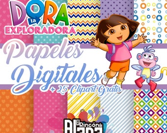 10 digital papers 12 x 12 Dora + 25 Free Clipart