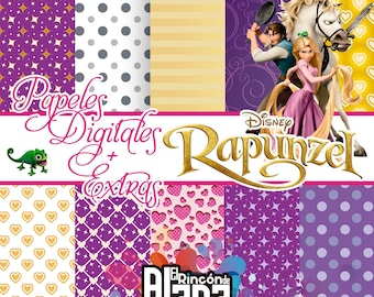 10 digital papers 12 X 12 Rapunzel + 12 free Clipart