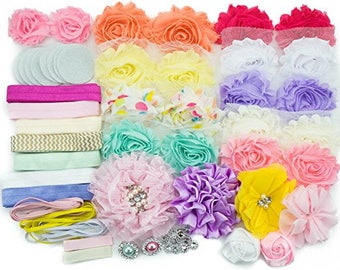 DIY Baby Shower Headband Making Kit - MAKES 20 HEADBANDS and 2 Clips! Pastel Collection Flower Headbands
