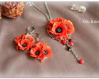 Ornaments of poppies polymer clay Poppy pendant poppy earrings Red poppies decorating women Decoration holiday,wedding Set Valentine's Day