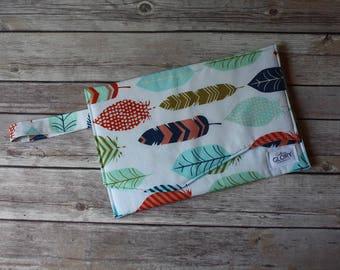 Feather Diaper Clutch   Nappy Clutch   Diaper Wristlet   Diaper Bag Organizer