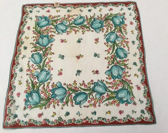 "Vintage Handkerchief / Burmel ""Blue Tulips"""