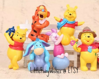 Winnie the Pooh cake topper Tigger Eeyore Piglet Winnie the Pooh birthday party cake toppers play set figures toys party favors 6 pieces