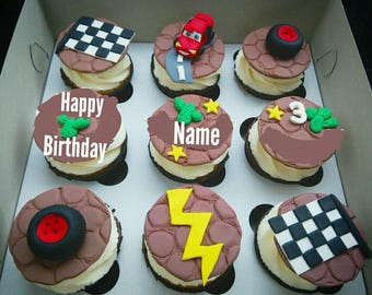 MCQUEEN cupcake toppers fondant Edible 9 psc Cars lightning Personally
