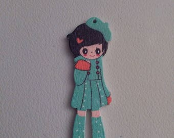 Button figurine little girl new turquoise dress