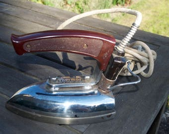 Vintage French Thermor Electric Iron 1950's Bakelite Handle Fully Working