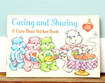 SALE Vintage Care Bears Sticker Book - Sharing is caring - A Care Bear Sticker Book - 1980's