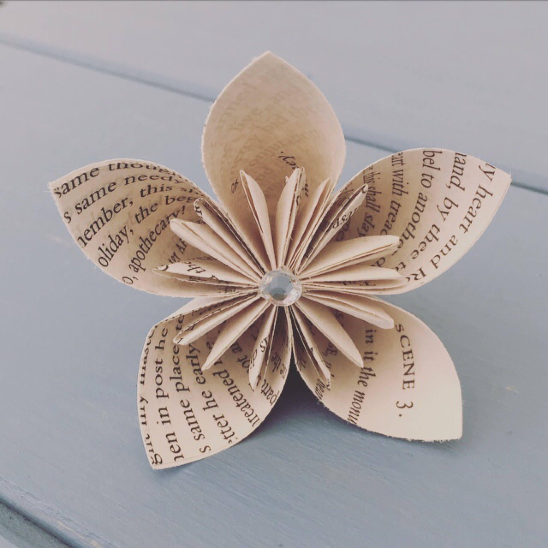 Origami kusudama flower book page flower paper flower book page origami kusudama flower book page flower paper flower book page decor literary mightylinksfo Gallery