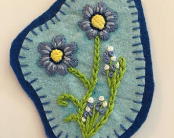 Hand embroidered blue floral patch