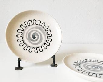 "Vintage Metlox Aztec 6"" Small Plates + Set of 2 + Mid Century Atomic Kitchen + Poppytrail + Minimalist Design"
