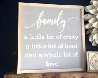 "Family A Little Bit of Crazy Painted Wood Sign 19.5""x19.5"". Farmhouse Decor, Family signs, Entryway decor, Gallery Wall Decor, Family quote"