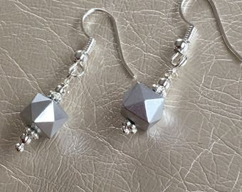 Gray dangle earrings. Silver dangle earrings. Silver components.  Hangs on silver ear wires.