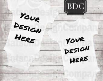 Back to School Sale White Bodysuit Set of 2 Mockup Instant Download | Baby Short Sleeve 2 Bodysuits Mock-up JPEG File | Commercial Use