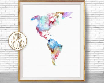 The Americas Map Map Wall Art Print The Americas Print Living Room Decor Travel Map Travel Decor Office Decor Office Wall ArtGift for Women