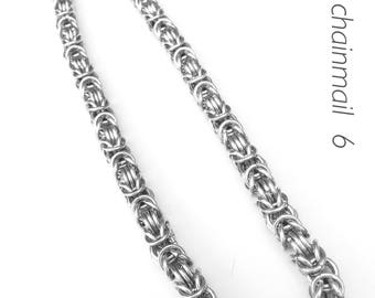 Chainmaille necklace, silver necklace, byzantine old silver, chainmaille silver, chainmaille jewelry, big silver necklace, Tessa's chainmail