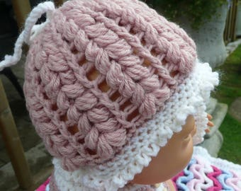Baby Girl Hat, Hand Crocheted Pink And Cream Baby Hat, Age Preemie -1 Year, Made To Order, Sirdar Snuggly Yarn.