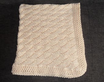 100% cotton knit baby boy cover. Baby blanket.