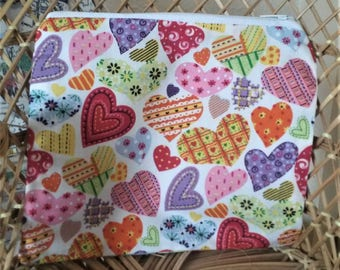 Hearts Zipped Pouch