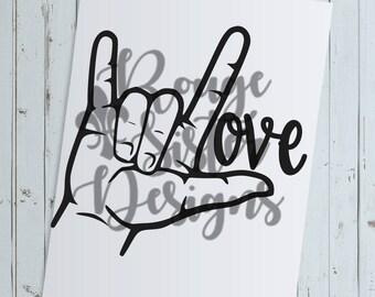 ASL Love Sign Language SVG PNG Design
