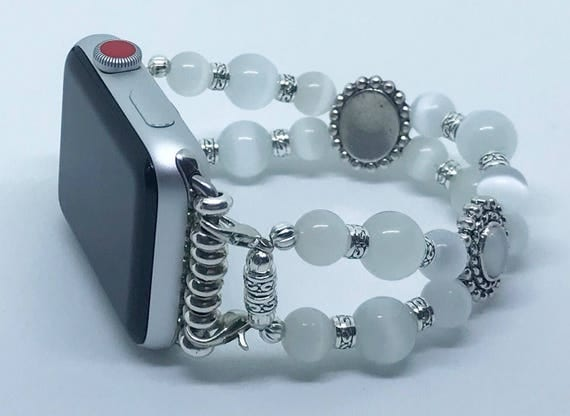 Apple Watch Band*, Women Bead Bracelet Watch Band, iWatch Strap, Apple Watch 38mm, 42mm, White Cats Eye Beads Size 6 3/4 - 7""