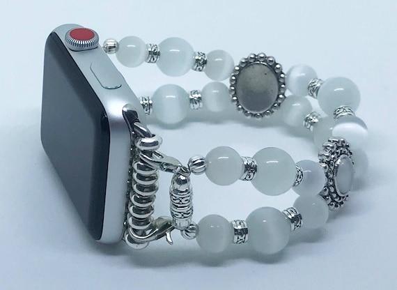 "Apple Watch Band, Women Bead Bracelet Watch Band, iWatch Strap, Apple Watch 38mm, 42mm, White Cats Eye Beads Size 6 3/4 - 7"""