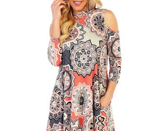 Style by Chris cold shoulder swing dress with pockets and 3/4 sleeves