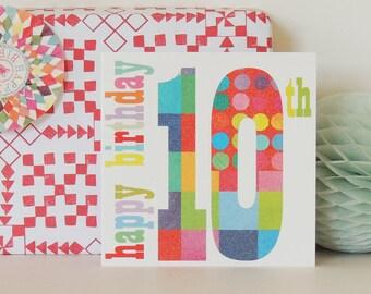 Age ten birthday card | tenth birthday | kids birthday card | number card | age card | 10th birthday card