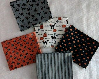 Fat quarters, Fabric bundle, Halloween fabric, Ghost fabric, Cat fabric, Orange and black fabric, Moda, Spooky Delight, Bunny Hill