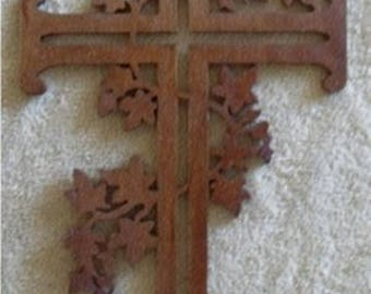 crucifix Christian Cross Made by Hand wood scroll saw fretwork Wooden Cross Wall Hanging