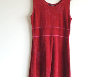 FREE SHIPPING - Gudrun SJODEN dark red velvet like sleeveless mini dress with embroidery, size L