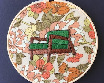 Vintage Chair Hand Stitched Embroidery Hoop Art // Retro Seventies Fabric // Wall Hanging