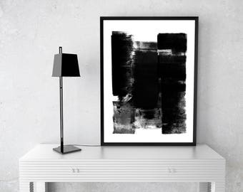 Blck and White brush work C, instant download art, abstract,contemporary, wall art, Zen, stroke