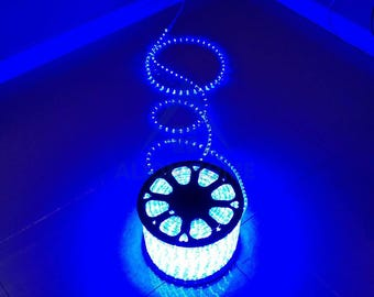 Custom Sized (Custom Length) LED Rope Lights for Patio, Backyard, Eaves, Roofs, Windows or Business etc. - Blue