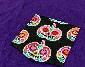 Sugar Skull Pocket Tee / Sugar Skull Pocket Shirt / Sugar Skull Pumpkin Pocket Tee / Halloween Pocket Tee / Halloween Pocket Shirt