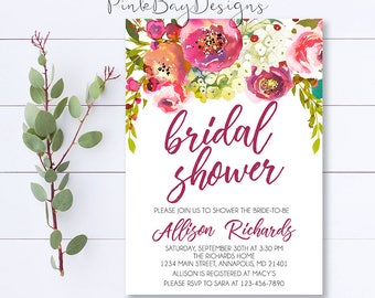 Floral Bridal Shower Invitation, Watercolor Shower Invitation, Bridal Shower Invite, Shower Invitation, Burgundy Bridal Shower, Watercolor