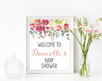 Floral Welcome Baby Shower Sign, Welcome To Baby Shower Sign, Floral Welcome Sign, Baby Shower Welcome Sign, Welcome Sign, Shower Decor