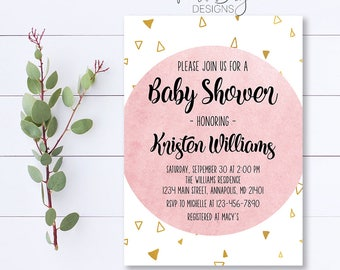 Pink Watercolor Baby Shower Invitation, Baby Shower Invite, Girl Baby Shower Invitation, Watercolor Baby Shower Invite, Modern Invite