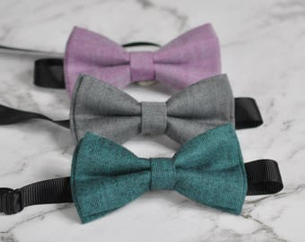 Men Women 100% Cotton Matte Mottled Grey Pink Green Craft Bow Tie Bowtie Wedding