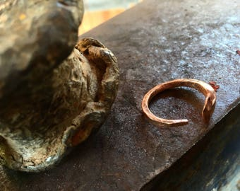Reclaimed copper nail ring