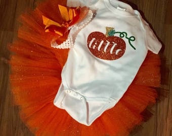 Infant toddler tutu little pumpkin outfit with matching headband bow.