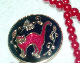Book marker ,red cat, red pearl necklace, enamelled, vintage